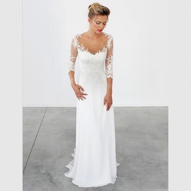 2017 Simple Sheath Wedding Dresses 34 Sleeves Vintage Long Wedding