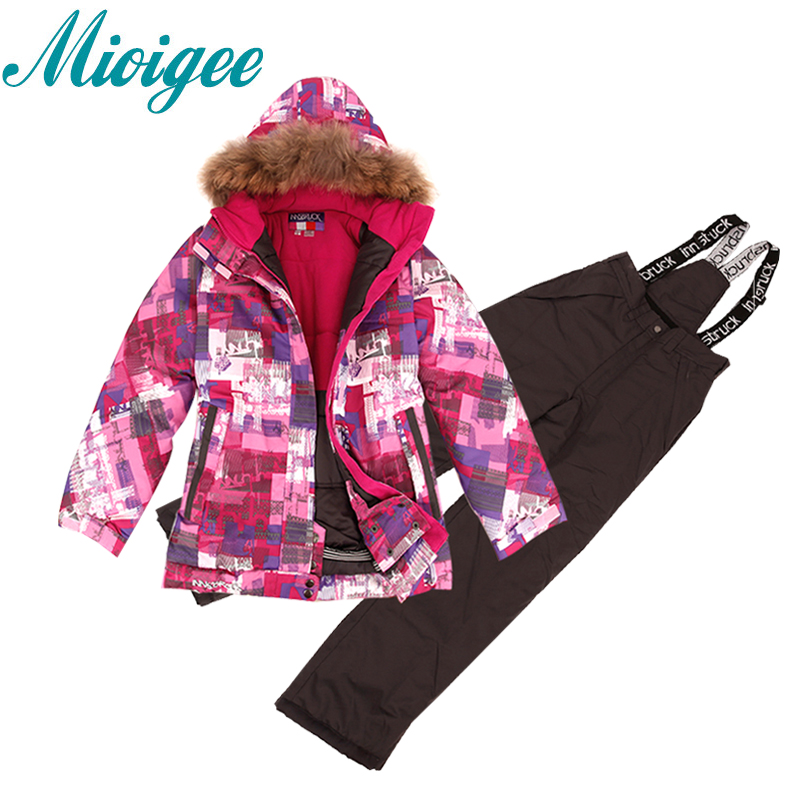 Mioigee 2017 Children Suit  Baby Girls Ski Warm Jackets+Bandage Pants Winter Girls Sets kids clothes for 8-16T 2016 winter boys ski suit set children s snowsuit for baby girl snow overalls ntural fur down jackets trousers clothing sets