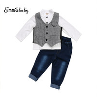 Toddler Kids Baby Boy Clothes Formal Suit Waistcoat Denim Pants Jeans Tuxedo Childern Babies Boys Outfits