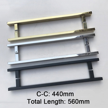 1PCS 304 Stainless Steel Bathroom Door Handles Golden/Polish Chrome/Dumb Black Glass C-C:440mm JF1809