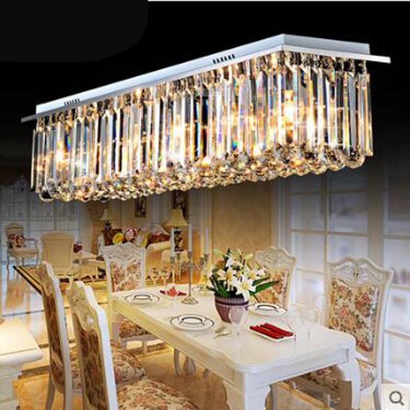 Modern 60 70 90cm Crystal Led Chandeliers Ceiling Lights: Rectangular Dining Room Lamp Crystal Lamp Bar Crystal