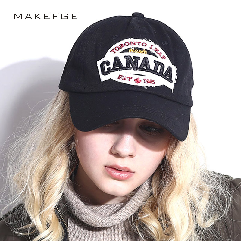 women baseball cap canada embroidery Letter snapback hat for men cap casquette gorras Spring summer sports Brand fashion hats fashion solid color baseball cap for men and women