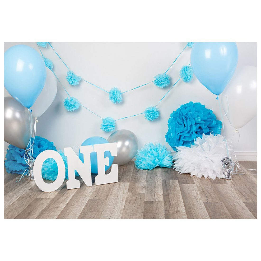 7x5ft Photography Backdrops baby boys 1st Birthday Blue balloons flowers party banner studio booth background photocall girls birthday backdrops baby shower background black white stripe cosmetic invitation celebration table banner party allenjoy