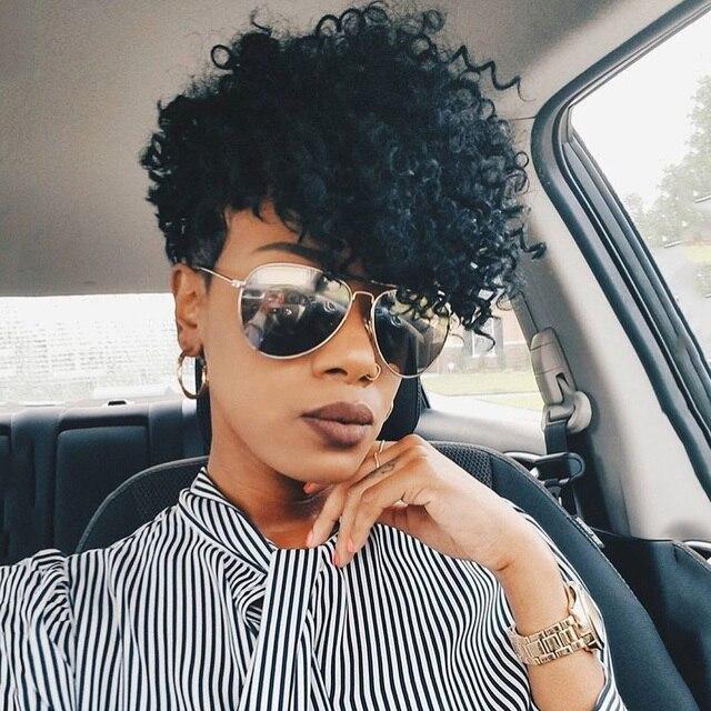 Sleek Perruque de cheveux humains crépue bouclée Perruque brésilienne de cheveux humains Perruque pour les femmes noires Perruque de bouclée courte Bob Pixie wig humain hair livraison gratuite