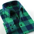 Nuevo 2016 de la Franela de Tela Escocesa de los hombres camisas casuales Inglaterra Estilo Regular sastrería llena/de manga larga camisa masculina 24 colores 4xl