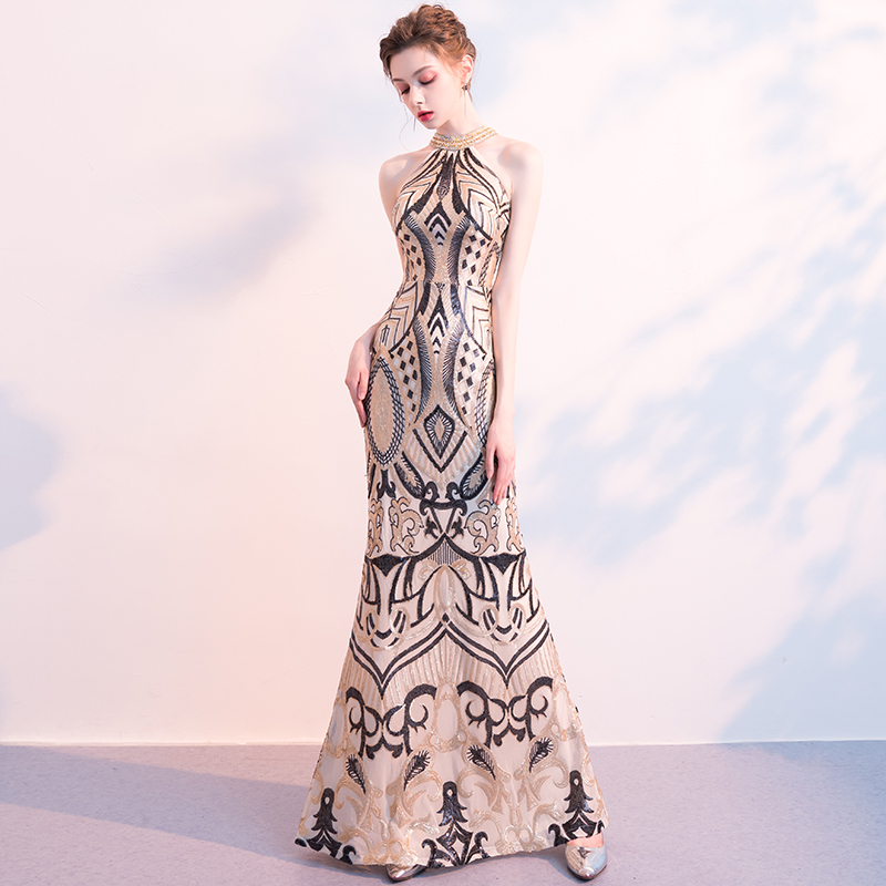 Beauty Emily   Evening     Dress   2019 Mermaid Gold Bling Sequins O-neck Contrast Color Skinny   Evening   Gowns for Women robe de soiree