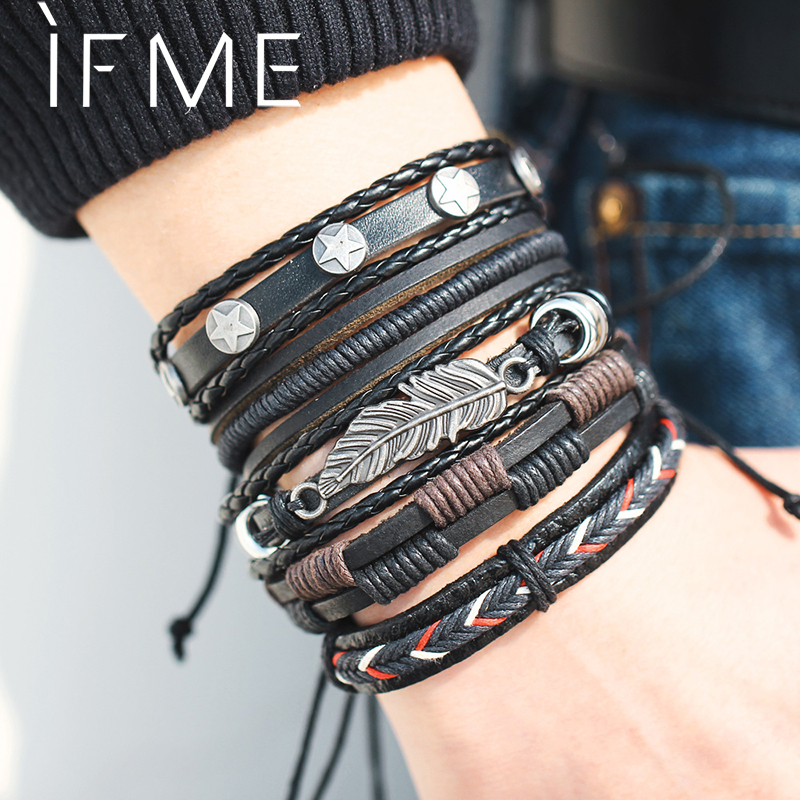 Meilleur achat ) }}IF ME Vintage Leaf Feather Multilayer Leather Bracelet Men Fashion Braided Handmade Star Rope Wrap