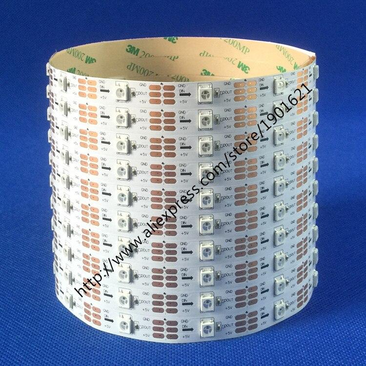 1m / 4m / 5m WS2812B Smart RGB LED Pixel Strip Svart / vit PCB 30/60 - LED-belysning - Foto 3
