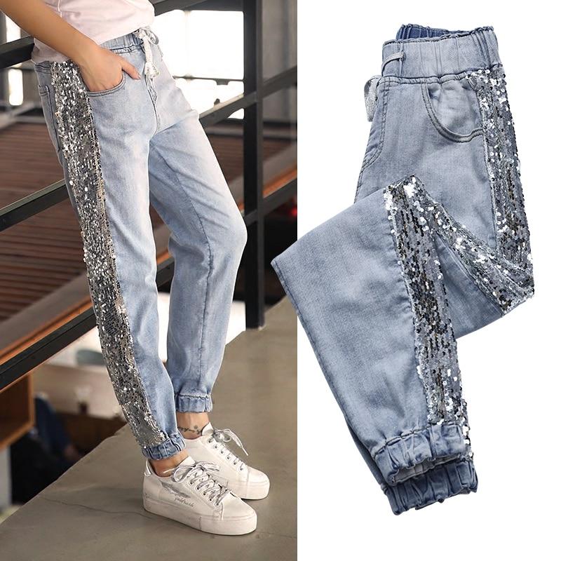Bordado La Agujero Jeans De Lentejuelas Mujer Femme Mujeres Recto Denim 2019 Lado Calle Hojas Vaqueros Pantalones Metal Las PZ8qxPBgw