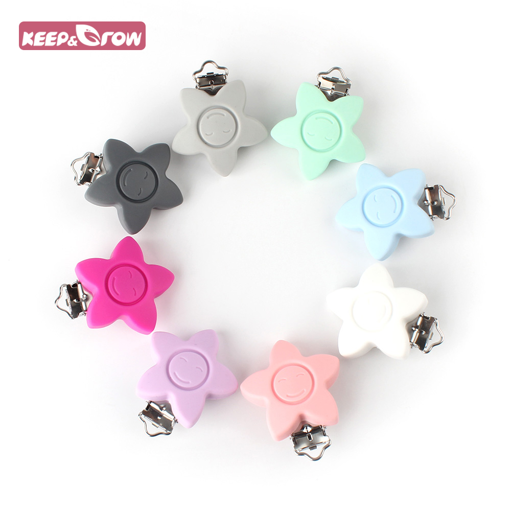 Keep Grow 1pcs Round Star Silicone Teether Metal Clip Pacifier Silicone Rodent DIY Baby Teether Necklace Pendant Clamp