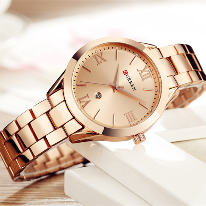 CURREN Watch Women Top Brand Quartz Female Bracelet Watches Stainless Steel Wrist Watch For Ladies Reloj Mujer Gift Rose Gold