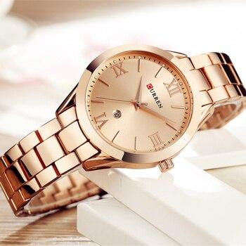 CURREN-Reloj de cuarzo para Mujer, pulsera de acero inoxidable, dorado, Rosa