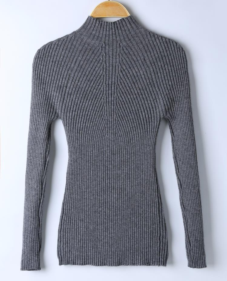 New 17 Spring Fashion Women sweater high elastic Solid Turtleneck sweater women slim sexy tight Bottoming Knitted Pullovers 31