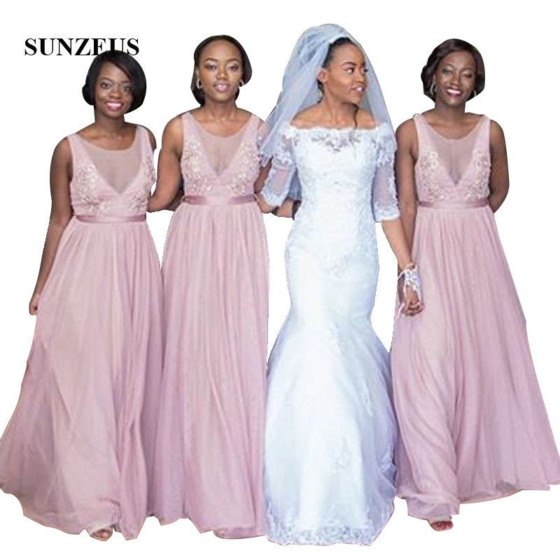 Long Tulle   Bridesmaids     Dress   A-line Tank African Woman Wedding Party Gowns With Appliques Elegant Formal   Dress
