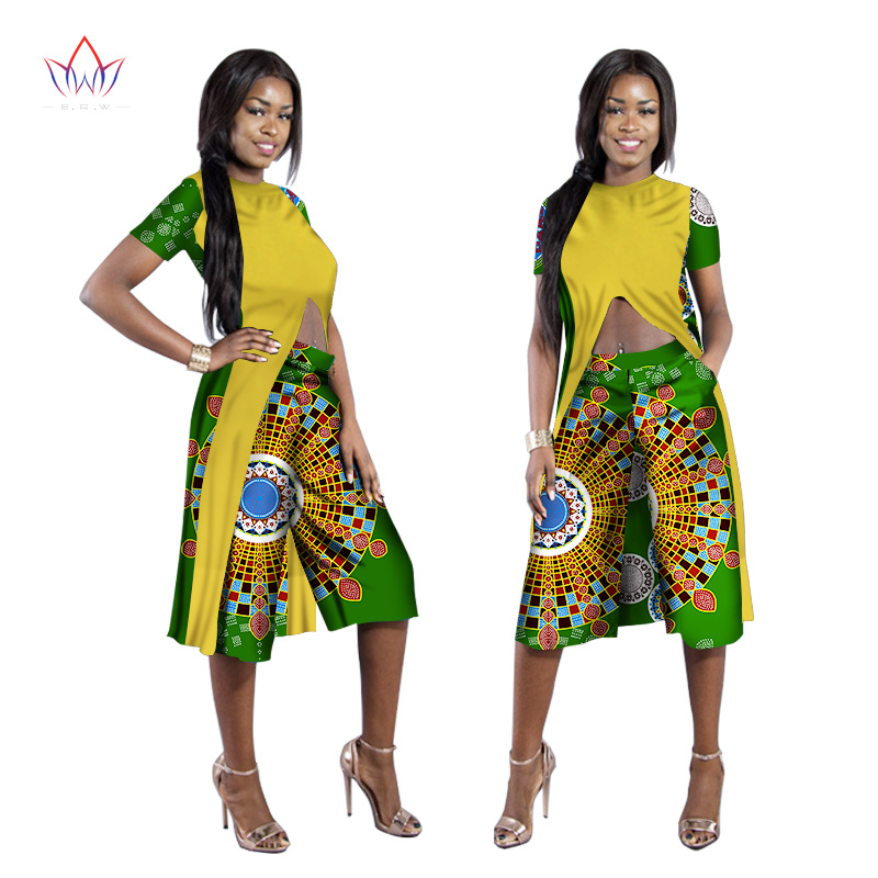 5b4ba95eb7 Good 2017 BRW African Print Clothes Long Criss-Cross Tops Two Piece Set Top  and Pants Women Clothing Dashiki Pants Plus 6XL WY1000 offers where can We  ...