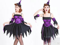 black purple Adult Halloween witch costume skirt hat for cosplay female bar sexy ds clothes halloween costumes for women witch