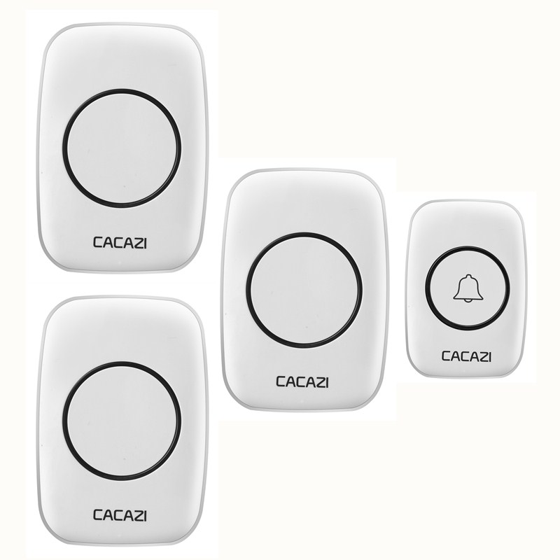 CACAZI AC 110-220V EU/US/UK plug wireless doorbell 1 waterproof button+3 receivers 300M remote door bell 38 chimes door ring 2 receivers 60 buzzers wireless restaurant buzzer caller table call calling button waiter pager system
