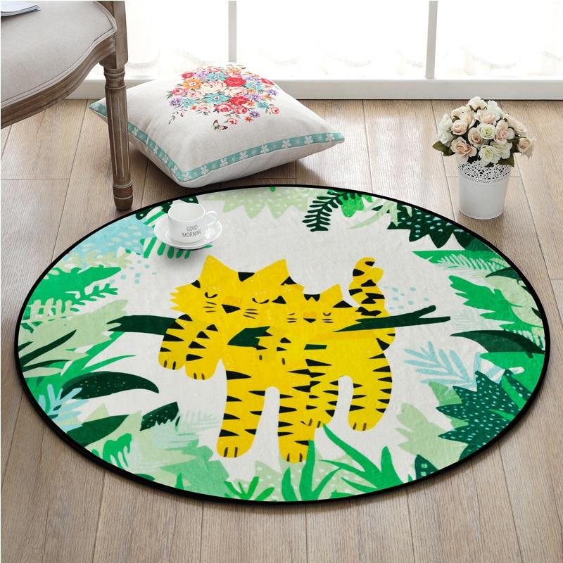 Cartoon Cute Tiger Round Carpets Tropical  Flower Children Play Tent Bedroom Floor Mat Living Room Christmas Tree Carpet