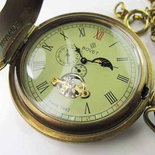 Old 100% Antique Double Cover Tourbillon MoonPhase Mens Mechanical Pocket Watch