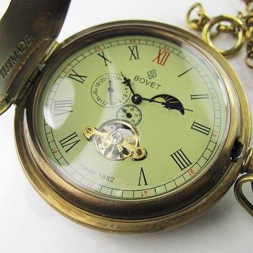 Viejo 100% antiguo doble cubierta Tourbillon MoonPhase hombres reloj de bolsillo mecánico