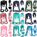 16color available Anime Hatsune Miku of Vocaloid Blue Black ponytail cosplay wig peruca,long straight yellow gold synthetic hair