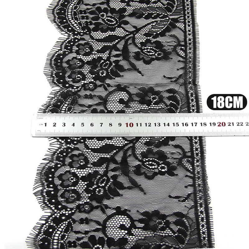 3Meters pcs 18cm width Black Eyelashes Lace Trim Flower Unilateral Wave Lace Fabric Handmade Diy Clothes Accessories Underwear in Lace from Home Garden