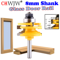 1 Pc 8mm Shank Glass Door Rail Stile Reversible Router Bit Wood Cutting Tool Woodworking Router