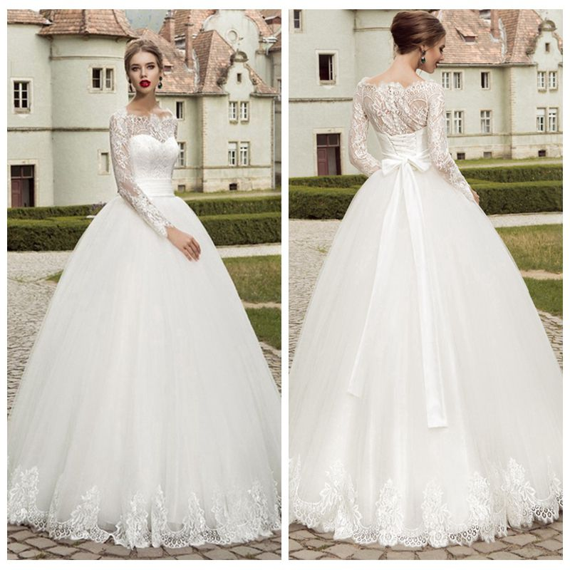 Modest Long Sleeve Wedding Dresses Turkey Boat Neck Ball Gown Lace Bridal Gown Vestidos de Novia