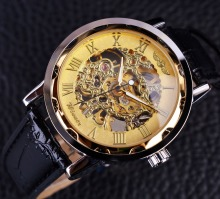 Skeleton Stainless Steel Golden Case Male Luxury Leather Strap Wristwatch