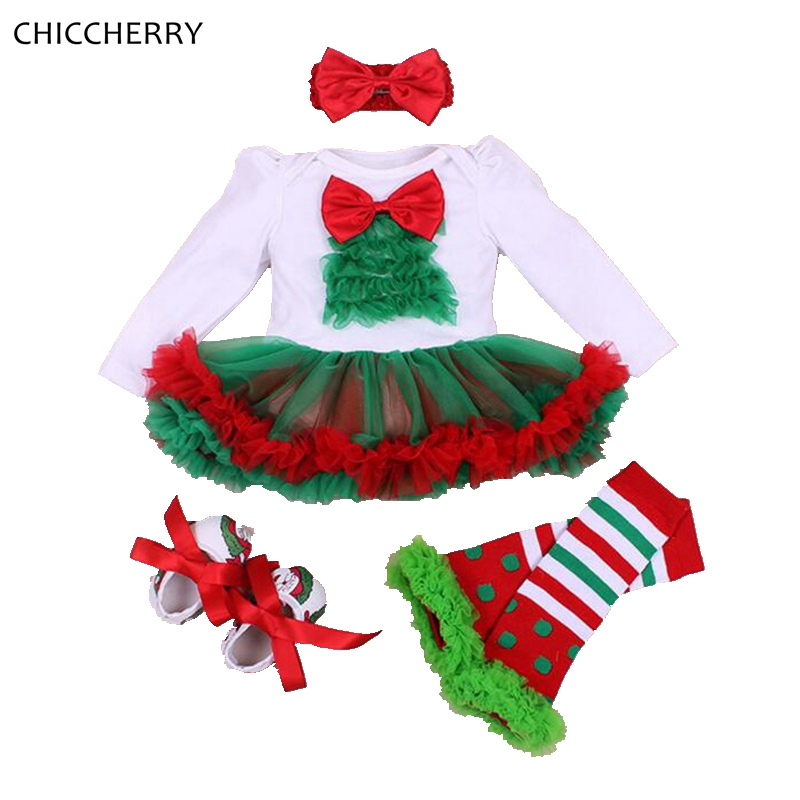 Christmas Costume for Girls Clothes Long Sleeve Lace Romper Dress Headband Leg Warmers Shoes Newborn Tutu Sets Infant Clothing