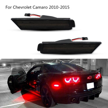 2pcs  Smoked lens rear side marker lamps with red LED lights 27-SMD for Chevrolet Camaro 2010-2015 car light