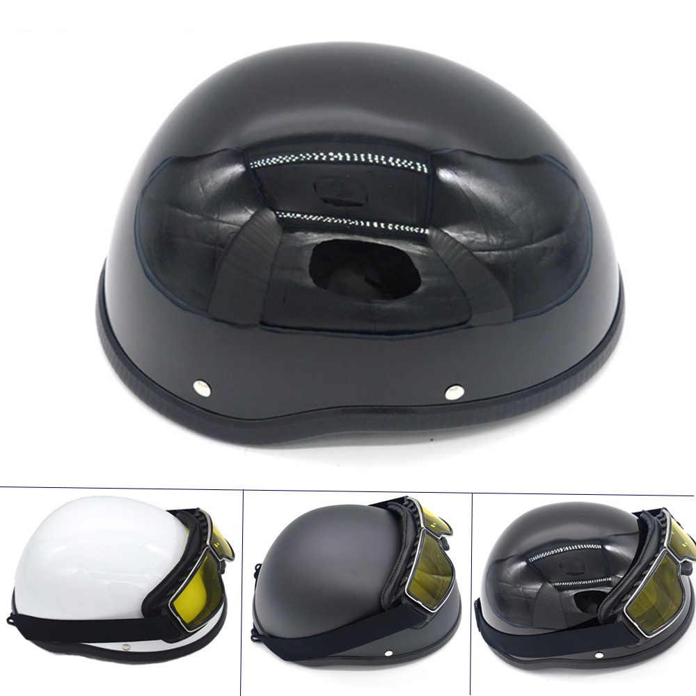 WWII Motorrad Helm Für Harley vintage Halbe Gesicht Helm Retro Deutsch Chopper Cruiser Matte Schwarz helme cascos para