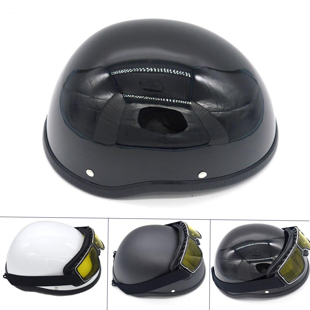 WWII Motorrad Helm vintage Halbe Gesicht Helm Retro Deutsch Chopper Cruiser Matte Schwarz helme cascos para harley DOT Approvel