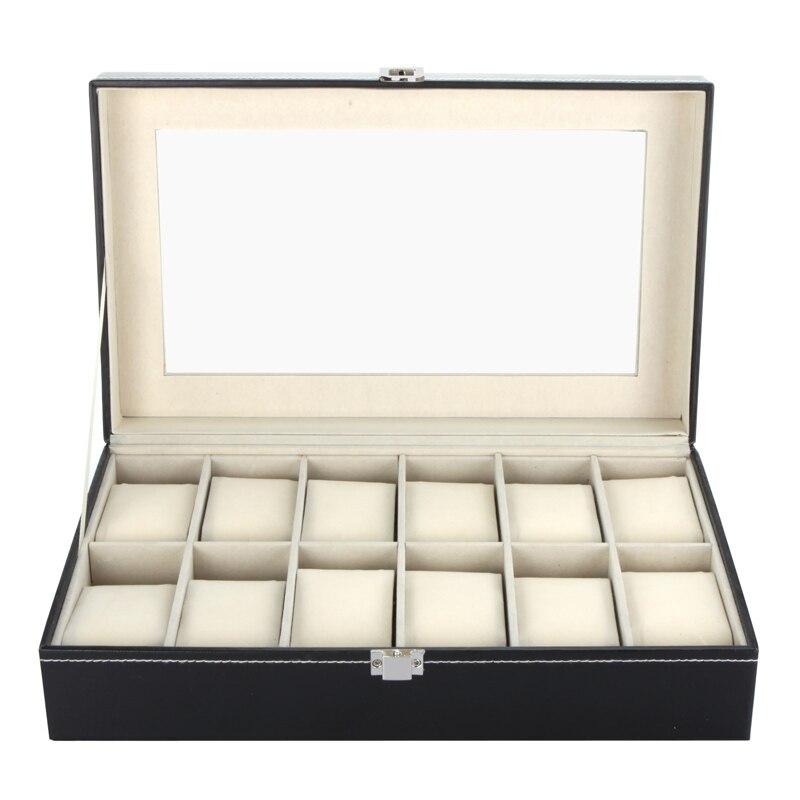 High-Grade 12 Grids PU Leather Watch Box Storage Organizer Luxury Jewelry Ring Display Watch Case Storage Holder caja reloj black jewelry watch box 10 grids slots watches display organizer storage case with lock