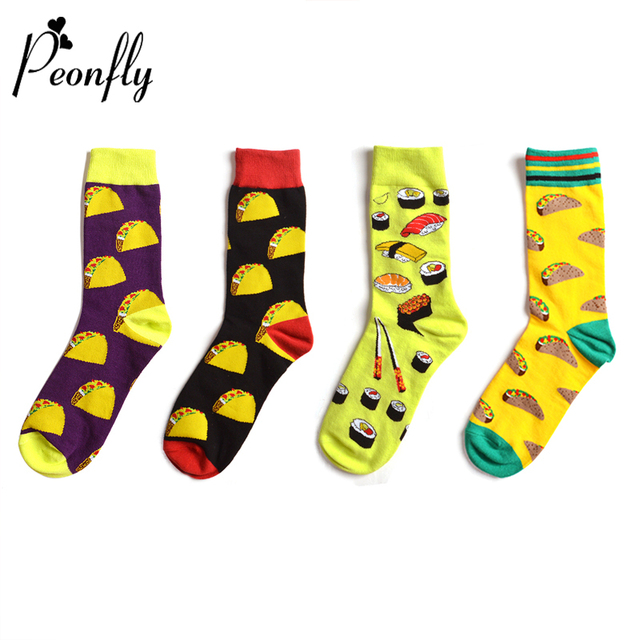PEONFLY 2018 Autumn Winter New Colorful Food Pattern Men Cotton Socks Personality Hamburger Sushi Red Wine Funny Sock Yellow Red