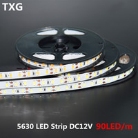 100 м/лот Корея импортировала супер яркий SMD5630 5 м 90 светодиодов/M DC12V гибкие светодиодные полосы