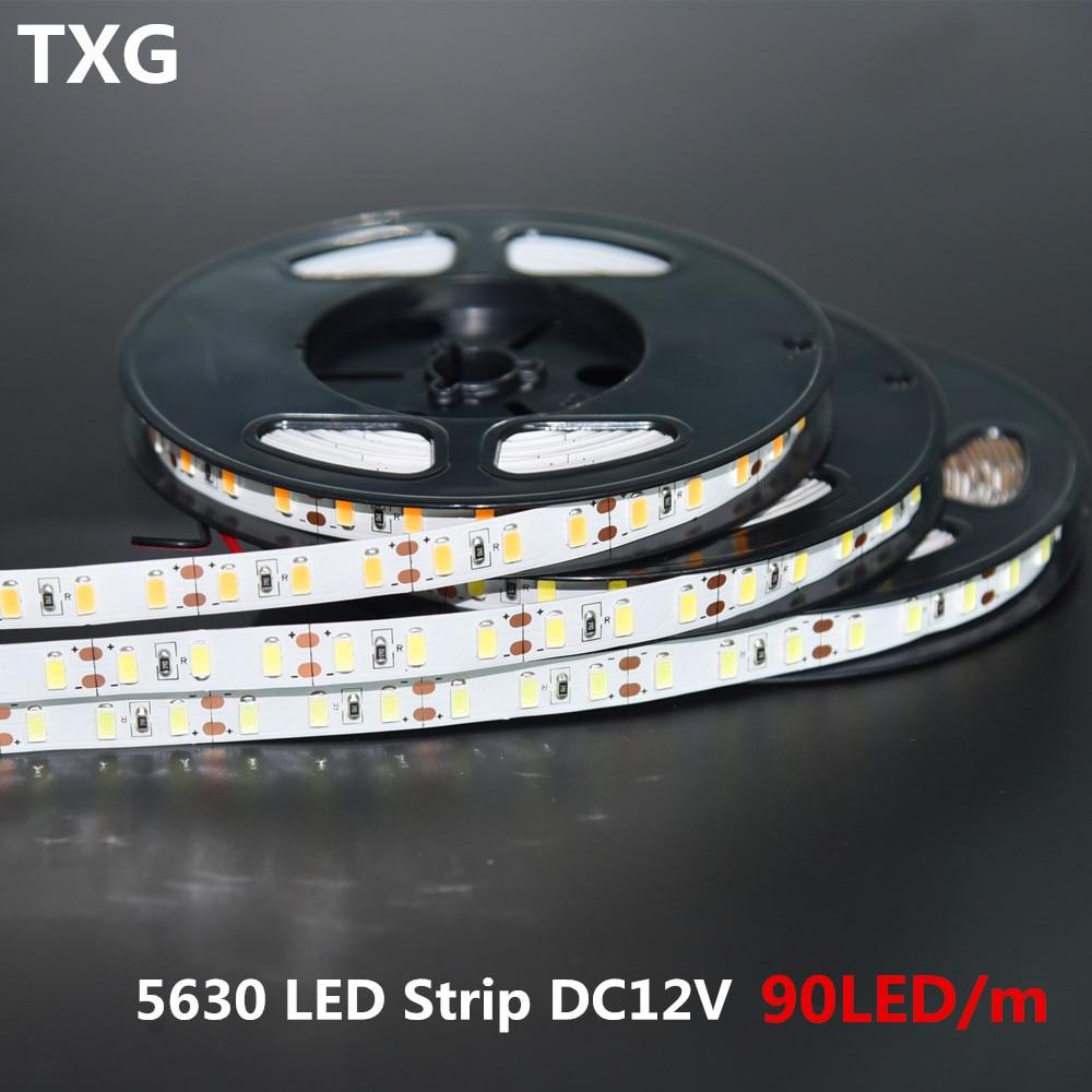 100m/lot Korea imported Super Bright SMD5630 5m 90leds/m DC12V Flexible LED strip light