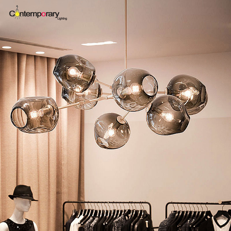 Vintage Loft Industrial Pendant Lights Black Gold Bar Stair Dining Room  Glass Shade Suspension Luminaire Pendant Lamp Fixtures