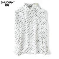 Shuchan Women's Shirt 90% Natural Silk 10% Cotton Womens Long Sleeve Tops And Blouses Polka Dot Retro Blusas Femininas shirts