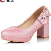 MoonMeek Black Pink Blue Fashion Spring Autumn Ladies Single Shoes Round Toe Shallow Square Heel Women