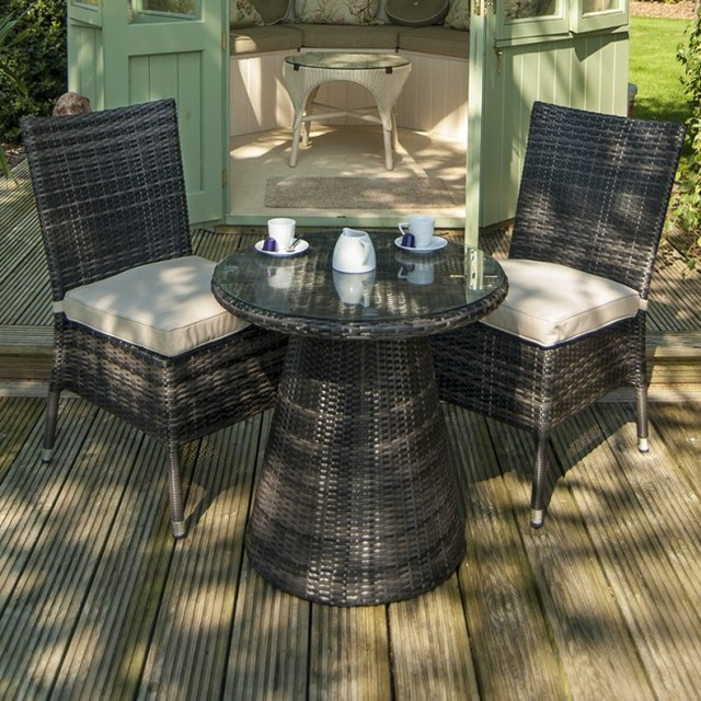 Hot Sale Promotion Glass Top Resin Wicker French Bistro Table Sets