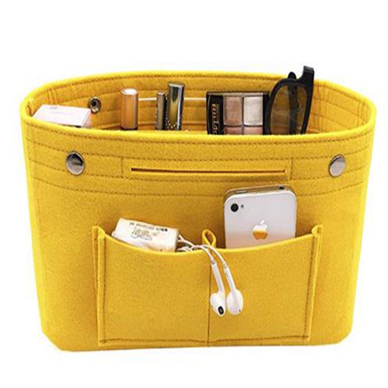 Women Portable Travel Organizer Cosmetic Bag Felt Cloth Insert Storage Bag Makeup Storage Organizer Multi-pockets Fits Handbag