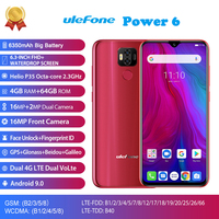 Ulefone Power 6 4G LTE Mobile Phone Android 9.0 MTK6765V Octa Core Face ID Fingerprint Smartphone 6.3 Inch 4GB 64GB 5000mAh 16MP