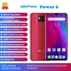Ulefone Power 6 4G LTE Mobile Phone Android 9.0 MTK6765V Octa Core Face ID Fingerprint Smartphone 6.3 Inch 4GB 64GB 5000mAh 16MP