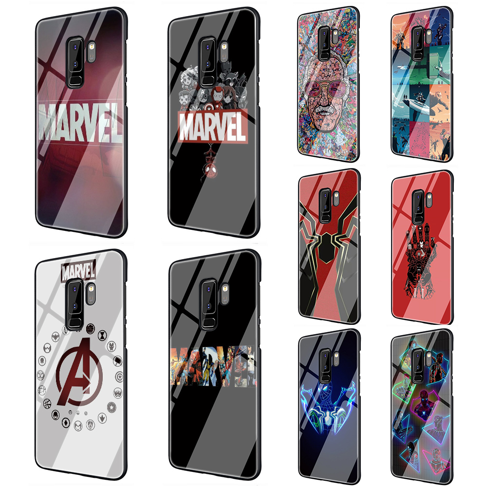 Marvel Superheroes Tempered Glass Phone Case for Samsung Galaxy S7 Edge S8 S9 S10 Note 8 9 10 plus A10 20 <font><b>30</b></font> <font><b>40</b></font> <font><b>50</b></font> <font><b>60</b></font> <font><b>70</b></font> image