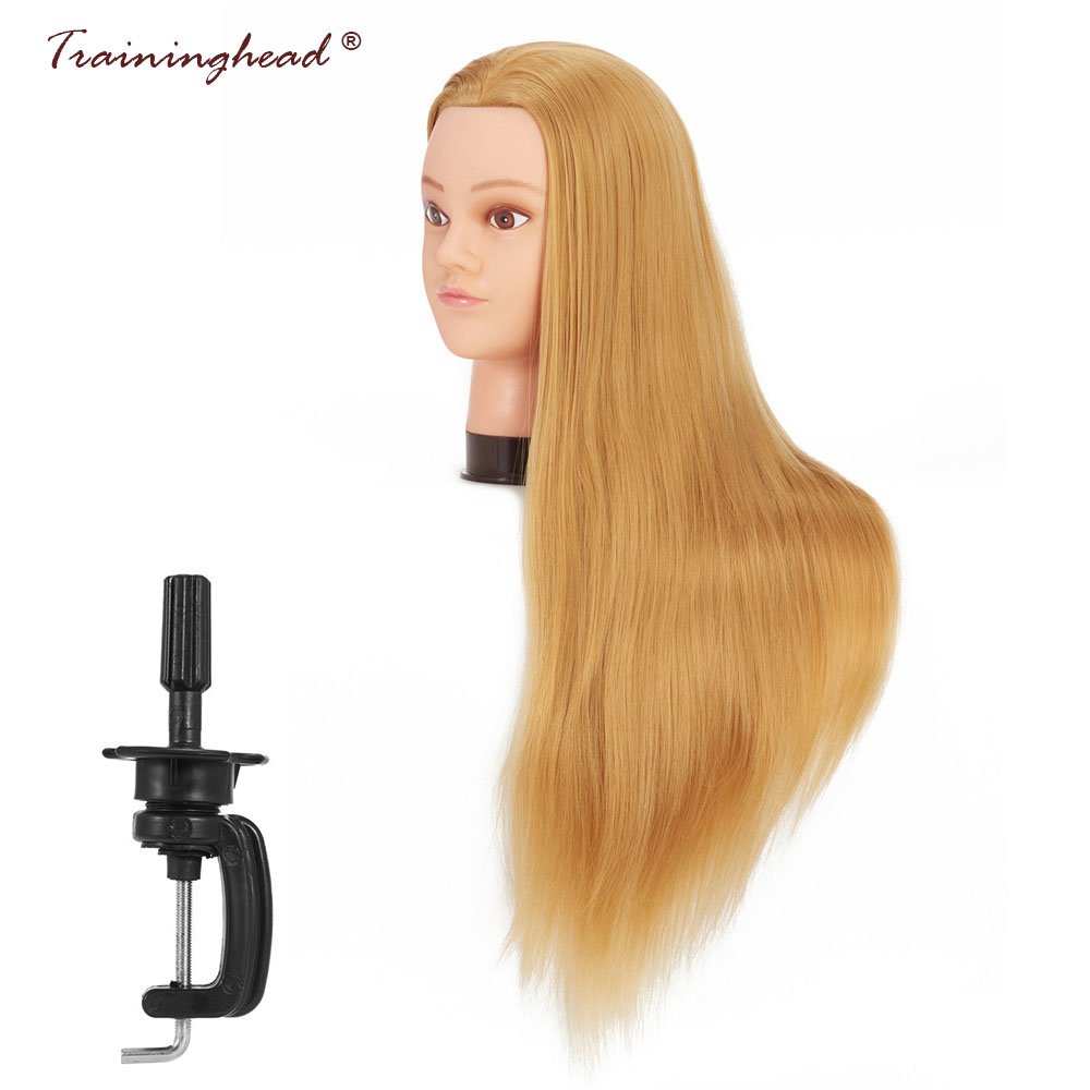 Traininghead 26-28 Blone Hair Mannequin Head 100% Good Synthetic Cosmetology Dummy Doll Head Training Head Hairdresses Female