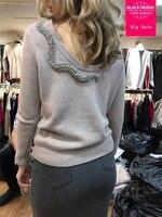 2018 fashion brand cashemere wool heavy beaded animal snake pattern sweater halter sexy knit wool blouse long sleeve tops wj1838