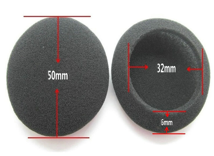 2pcs/pair 5cm Foam Ear Pads For Headphones PC130 PC131 PX80 PX100 H500 Thicken Big Ear Pad Foam Earbud Sponge CoverS Headphone