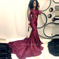 2017 luxo apliques manga comprida mermaid evening formal vestidos ocasião 2017 africano sexy borgonha prom dress