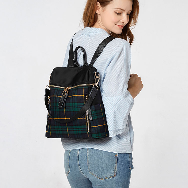 plaid women backpacks genuine leather travel backpack for lady brand shoulder bags (16)